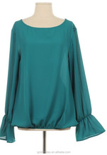 plus size indian design women bell bottom sleeve blouse in polyester spandex