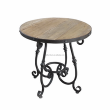 Ancient Reprocess Wood Metal Side Table