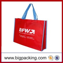Eco Printed Custom OEM Woven Material Red PP Woven Promotional Shopping & Packaging Bag Red PP Woven Shopping Bag
