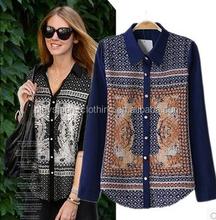2015 New Design Fashion Ladies Top Woman Blouse Printed Long Sleeve Printed Chiffon Blouse 2015