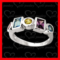 2015 fashion jewelries 925 sterling silver ring with colorful CZ stones