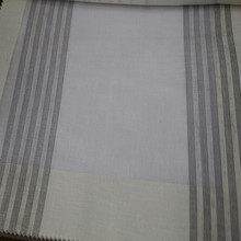 Wholesale hotel grey stripe white chiffon curtain fabric for ready drapery
