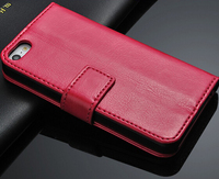 Genuine 100% Real Leather Wallet Stand Double Sided Case for Iphone 5