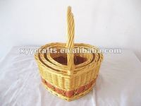 3pcs heart shaped willow gift basket (factory supplier)