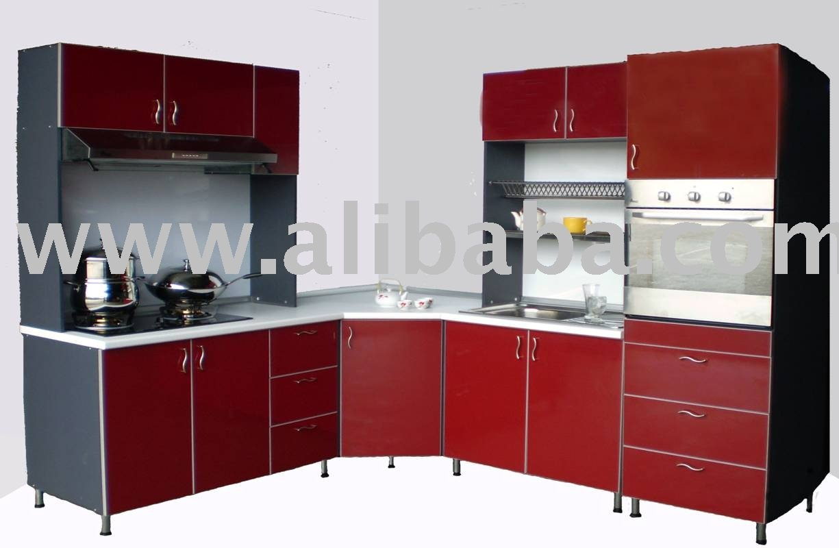 Maroon set kitchen cabinet buy kitchen cabinet product for Kitchen cabinets sets