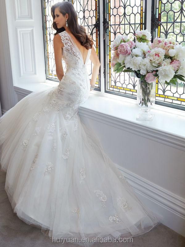 Blanco de encaje de tul boda profundo cuello en v vestidos de manga corta