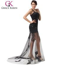 Gracia Karin nueva llegada de un hombro a largo negro encaje vestido de fiesta 2015 CL6100