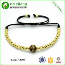 Yiwu Fashion gold jewellery 24k gold stainless steel bracelet beaded jewelry