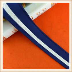 Manufacture wholesale elastic band Ribbon/elastic rib with foil navy color factory price