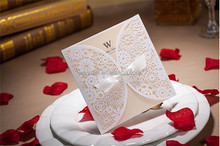 wedding favors decorative party supply laser cut folding White Lace wedding invitation cards
