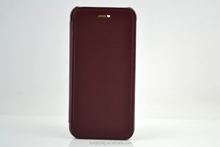 New arrival dark red PU leather folio case for iPhone 6 slim case