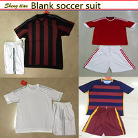 2015/2016 wholesale football jersey suit league milan madrid Blank soccer jersey set customized man shirt /umifrom soccer shorts