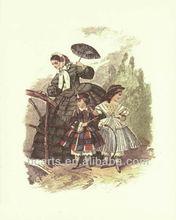 A mano puro- dipinto vintage belle donne e bella bambini tela pittorica