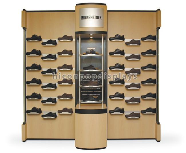 Personalizzata In Metallo Supporto A Parete Montato Infissi Negozio di Merchandising Illuminato MDF di Legno Scarpa Scarpa Display