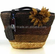 fashion style handbags ladys straw bag with flower