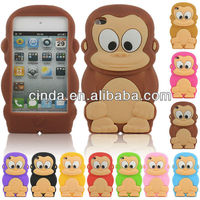 3D Animal Monkey Soft Silicone Case Cover for iPod Touch 4 4th Gen