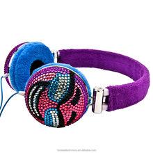 crystal diamond super bass headset with CE RoHS earmuff headphone