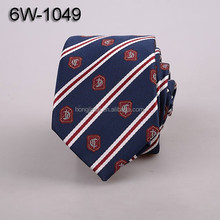 Polyester woven neck ties dark blue micro fiber necktie white and red stripe factory wholesale ties 6W1049