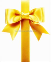 Gold Foil Satin Ribbon Bow With Tinsel For Gift Packaging/Hot sale satin ribbon bows for gift packing