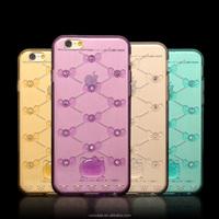 cute cartoon rhinestone with hello kitty design transparent tpu phone case for iPhone 6/6 Plus
