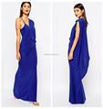 Prom slinky vestido de tafetá azul plus size um ombro longo vestidos dama de honra