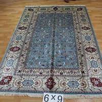 6x9ft Hand knotted blue color persian design fashionable rug