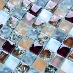 mix color ice crackle red glass crystal mosaic tile
