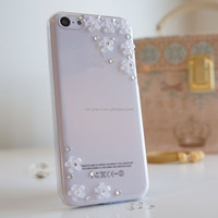 3D luxury flower bling diamond crystal case cover for iphone 5 5s 5c 4 4s mobile phone accessory