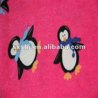 100% Polyester Penguin Print Brush Fleece Fabric