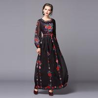 Top Quality Fashion European New Designer Dress 2016 Spring Women Vintage Floral Print Long Sleeve Floor Long Maxi Dress Ladies