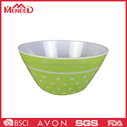 Green color with white dots print plastic salad bowl , melamine round colorful plastic bowl