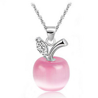 Wholesale AAA 100% 925 Sterling Silver Necklaces Lovely Apple Opal Necklaces & Pendants Silver Jewelry FREE SHIPPING