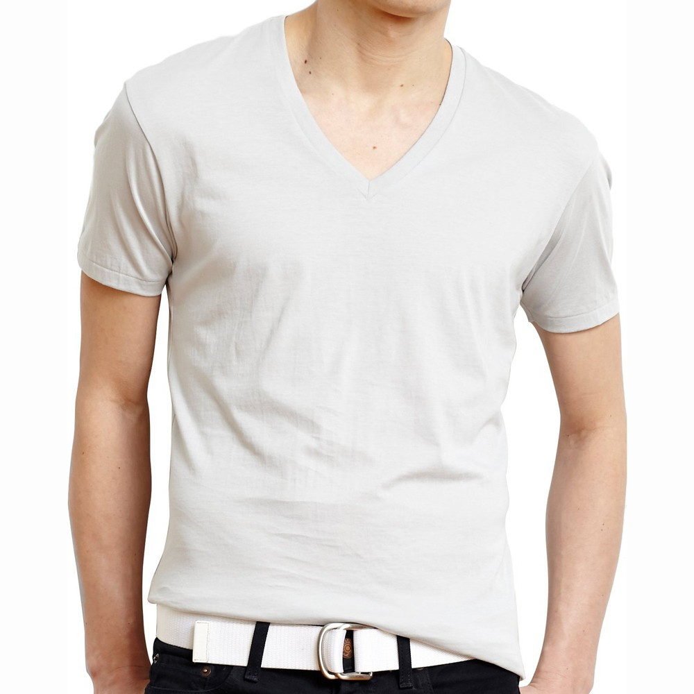 Wholesale high quality cotton plain white v neck t shirts Bulk quality t shirts
