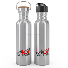 750ml stainless steel water bottle with stainless steel bamboo lid