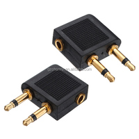 Wholesale Price 3.5mm to 2 x 3.5mm Airplane Headphone Earphone Universal Audio Adapter Converter Connector Airline Jack
