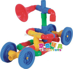 2015 new design plastic transformer pipe building blocks toys