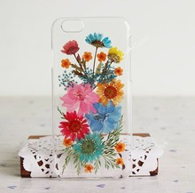 Transparent Muliticolored Dry Flower Phone Case for Iphone 6 Case Cover for iIphone 6 Plus CASE