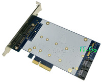 Marvell 9230 SATA III HDD + 2 NGFF (m.2) SSD Port to PCI-express 4x combo controller Card Support SATA Port Multiplier