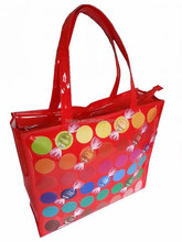 custom printed mirror-surface leather bag Shiny PVC shopping bag
