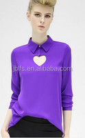 hollow out heart style OL women shirt OEM size brand