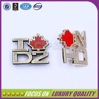 Anti-brass plating custom made metal logo charms with maple leaf