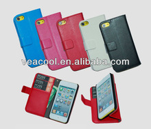 Litchi Book Wallet Leather Case Cover with Card Slots for Apple iPod Touch 5 5th case