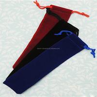 High-end custom printed 3*18cm velvet drawstring pen bags