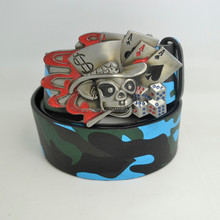 Cool party PU belt with big buckle head, cheap price belt manufacturer