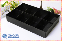 8 Slot Black Plastic Jewelry Accessory Organizer with compartments