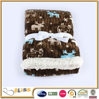 2015 new design 100% polyester printed children coral fleece blanket with sherpa
