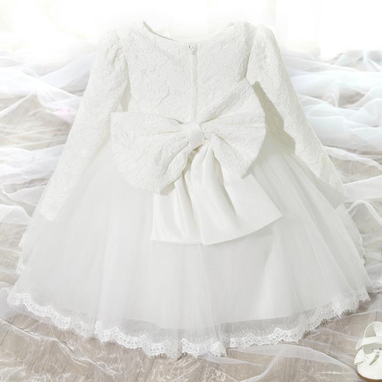 Korean Style Baby Girl Frocks Long Sleeves Kids Dress Frocks Ruffle
