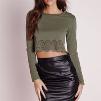 Clothes for women 2015 new lady cut out wrap back khaki crop top HST3413