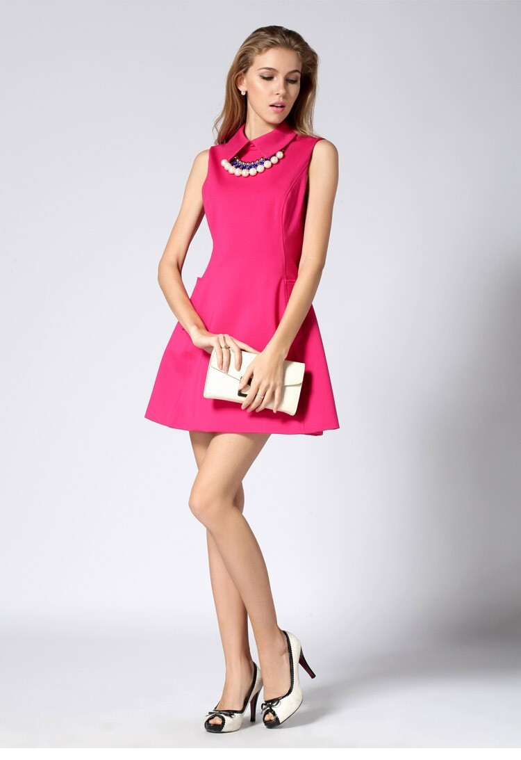 осенью и зимой повернуть вниз воротника рукавов Роза Зеленая Мода бренда платье партии короткое платье осень