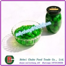 Sweet Canned Green Cherries without Stem